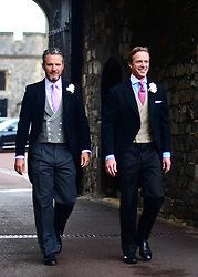 Groom Thomas Kingston (right) arrives at St George's Chapel in Windsor Castle, ahead of his wedding to Lady Gabriella Windsor.