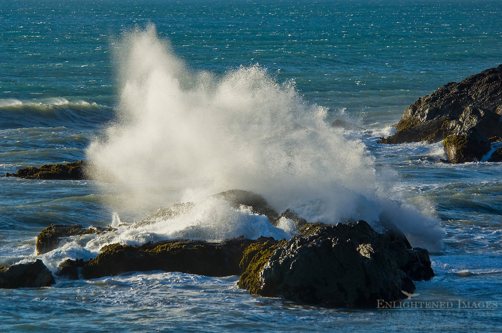 Waves crashing against coastal rocks at Shelter Cove, on the Lost Coast, Humboldt County, California