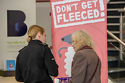 Pictured: Inspector Phillipa Boyd chats to a customerr about the new campaign<br />Police Scotland is warning that anyone can be a victim of doorstep crime after householders lost hundreds of thousands of pounds to scammers. <br /><br />The Shut Out Scammers campaign was launched today at the Clydesdale Bank, George Street, Edinburgh.  Chief Superintendent John McKenzie was joined by colleagues from Police Scotland, Clydesdale Bank, Care and Repair Edinburgh, Crime Stoppers and Trading Standards.<br /><br />Ger Harley | EEm 14 APRIL 2019