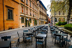 Early morning and empty tables and chairs in the Piazza Minghetti, Bologna, Italy<br /> <br /> (c) Andrew Wilson | Edinburgh Elite media