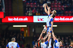 27th April 2019 , Principality Stadium , Cardiff, Wales ; Guinness pro 14's, Round 21, Dragons vs Scarlets ; Joseph Davies of Dragons claims the lineout<br /> <br /> Credit :  Craig Thomas/Replay Images