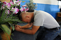 Deep in thought during during Easter Sunday services at Fuente de Vida Church in east Salinas.