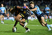 Sean Wainui of the Chiefs scores a try during the Round 5 Trans-Tasman Super Rugby match between NSW Waratahs and Waikato Chiefs at Brookvale Oval in Sydney, Saturday, June 12, 2021. (AAP Image/Dan Himbrechts) NO ARCHIVING, EDITORIAL USE ONLY