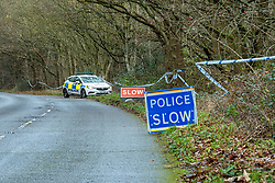 "© Licensed to London News Pictures. 07/12/2019. Gerrards Cross, UK. A Thames Valley Police vehicle maintains a scene watch as London's Metropolitan Police Service searches woodland in Gerrards Cross, Buckinghamshire. Police have been in the area conducting operations since Thursday 5th December 2019 and are searching two areas on Hedgerley Lane. In a press statement a Metropolitan Police spokesperson said ""Officers are currently in the Gerrards Cross area of Buckinghamshire as part of an ongoing investigation.<br /> ""We are not prepared to discuss further for operational reasons.""<br /> Photo credit: Peter Manning/LNP"