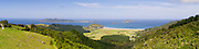 Panoramic view of Matauri Bay, with the Cavilli Islands in the background. Northland, New Zealand.