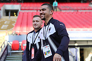 AFC Wimbledon striker Kweshi Appiah (9) and AFC Wimbledon midfielder Dean Parrett (18) walking onto pitch during the The FA Cup 3rd round match between Tottenham Hotspur and AFC Wimbledon at Wembley Stadium, London, England on 7 January 2018. Photo by Matthew Redman.