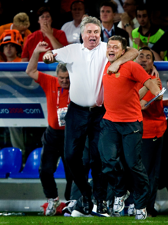Zwitserland. Basel, 21-06-2008.<br /> EK voetbal. Kwartfinale Nederland tegen Rusland.<br /> Nederland verliest met 3-1 van het team van Guus Hiddink en Igor Kornjeev.<br /> Foto: Patrick Post / Sportstation
