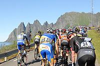 Sykkel<br /> Artic Race 2015<br /> Foto: imago/Digitalsport<br /> NORWAY ONLY<br /> <br /> Das Fahrerfeld Peloton im Anstieg zur Bergwertung - Landschaft - Landscape - Feature - Natur - Hintergrund - Illustration - Impression - Uebersichtsbild - kompaktes Fahrerfeld - Aktion - Rennszene - Querformat - quer - horizontal - Event / Veranstaltung: 3. Arctic Race of Norway 2015 - Stage 3 / 3.Etappe: Senja nach Malselv 175.0km - Location / Ort: Malselv - Troms - Norway - Norwegen - Europe - Europa - Date / Datum: 15.08.2015