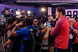 August 31, 2017 - Harrison, New Jersey, United States - Harrison, NJ - Thursday Aug. 31, 2017: Omar Gonzalez, media during a training day prior to a FIFA World Cup Qualifier between the United States (USA) and Costa Rica (CRC) at Red Bull Arena. (Credit Image: © Howard C. Smith/ISIPhotos via ZUMA Wire)