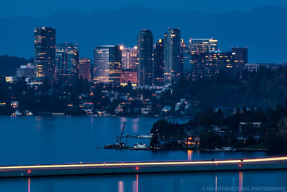 Bellevue Skyline & Lake Washington (Evening)