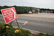 A sign indicates a gate to a construction site in the Colne Valley for the HS2 high-speed rail link on 26th June 2020 in Harefield, United Kingdom. Extensive preparatory works for the HS2 project continue in the Colne Valley in spite of ongoing stubborn resistance from environmental campaigners seeking to protect woodland and wetland habitats in the area.