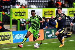 Jack Aitchison of Stevenage applies pressure on Udoka Godwin-Malife of Forest Green Rovers- Mandatory by-line: Nizaam Jones/JMP - 17/10/2020 - FOOTBALL - innocent New Lawn Stadium - Nailsworth, England - Forest Green Rovers v Stevenage - Sky Bet League Two