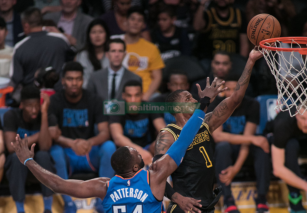 February 8, 2018 - Los Angeles, California, U.S - Kentavious Caldwell-Pope #1 of the Los Angeles Lakers goes for a layup during their NBA game with the Oklahoma Thunder on Thursday February 8, 2018 at the Staples Center in Los Angeles, California. Lakers defeat Thunder, 106-81. (Credit Image: © Prensa Internacional via ZUMA Wire)