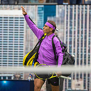 2019 US Open Tennis Tournament- Day Fourteen.   Rafael Nadal of Spain enters the court for his match against Danill Medvedev of Russia in the Men's Singles Final on Arthur Ashe Stadium during the 2019 US Open Tennis Tournament at the USTA Billie Jean King National Tennis Center on September 8th, 2019 in Flushing, Queens, New York City.  (Photo by Tim Clayton/Corbis via Getty Images)