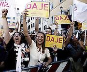 Sostenitori di Ignazio Marino a Piazza di Pietra festeggiano l'elezione del loro candidato a sindaco di Roma<br /> Roma - 10 giugno 2013. Matteo Ciambelli / OneShot
