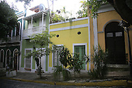 Colorful historic buildings line the cobblestone streets in Old San Juan, Puerto Rico