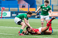 Shona Powell-Hughes of Wales stretches for the line and momentum takes her over to score Wales's first try.<br /> RBS Womens Six Nations 2017 international rugby, Wales women v Ireland women at the BT Sport Cardiff Arms Park in Cardiff , South Wales on Saturday 11th March 2017.  pic by Simon Latham, Andrew Orchard sports photography