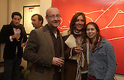 """Sebastian Sainsbury, Carmen Dudley and Natasha.  """"Hold""""  exhibition of work by Natasha Law at Eleven.  January 12 2006. London. ONE TIME USE ONLY - DO NOT ARCHIVE  © Copyright Photograph by Dafydd Jones 66 Stockwell Park Rd. London SW9 0DA Tel 020 7733 0108 www.dafjones.com"""