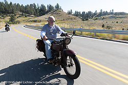 Rick Salisbury of the Legends Motorcycle Museum riding his 1928 Indian Ace on the Motorcycle Cannonball coast to coast vintage run. Stage 10 (299 miles) from Sturgis, SD to Billings, MT. Tuesday September 18, 2018. Photography ©2018 Michael Lichter.