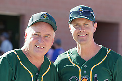 29 July 2017: Illinois Congressmen Dan Brady and Rodney Davis during a Legends Baseball game sponsored by the Normal CornBelters at Corn Crib Stadium on the campus of Heartland Community College in Normal Illinois