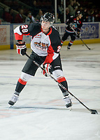 KELOWNA, CANADA, DECEMBER 3: Martin Marincin #28 of the Prince George Cougars warms up on the ice as the Prince George Cougars visit the Kelowna Rockets  on December 3, 2011 at Prospera Place in Kelowna, British Columbia, Canada (Photo by Marissa Baecker/Shoot the Breeze) *** Local Caption ***
