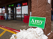 26 JANUARY 2020 - AMES, IOWA: A person walks into Jethro's BBQ in Ames, IA, before a campaign event with Senator Amy Klobuchar (D-MN). Sen. Klobuchar campaigned to support her candidacy for the US Presidency Sunday in central Iowa during the one day break from the impeachment trial of President Trump. She is trying to capitalize on her recent uptick in national polls. Iowa holds the first selection event of the presidential election cycle. The Iowa Caucuses are Feb. 3, 2020.    PHOTO BY JACK KURTZ