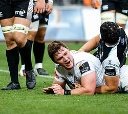Jasper Wiese of Cheetahs celebrates scoring his sides first try<br /> <br /> Photographer Simon King/Replay Images<br /> <br /> Guinness PRO14 Round 2 - Ospreys v Cheetahs - Saturday 8th September 2018 - Liberty Stadium - Swansea<br /> <br /> World Copyright © Replay Images . All rights reserved. info@replayimages.co.uk - http://replayimages.co.uk