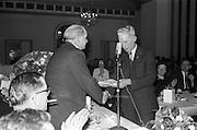 18/02/1963<br /> 02/18/1963<br /> 18 February 1963<br /> Irish Shell staff Social Club  long service award presentations at the Royal Hibernian Hotel, Dublin. Awards presented by Mr Young of Irish Shell, left.