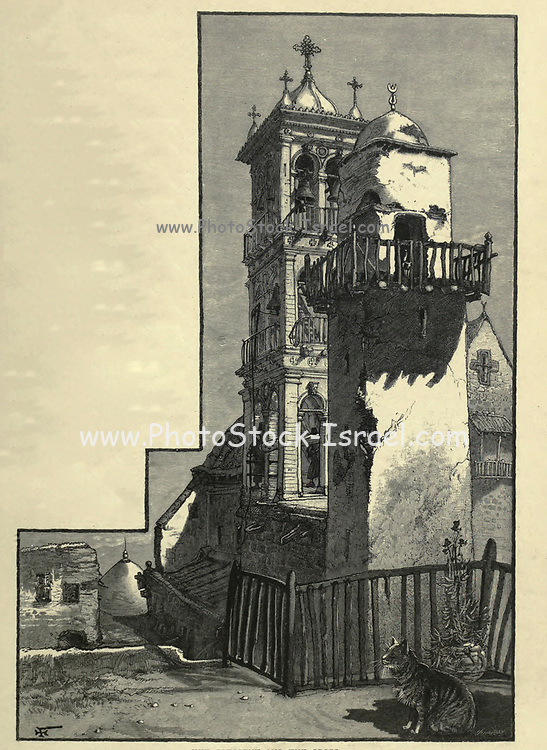 THE CRESCENT AND THE CROSS. The belfry of the church and the minaret of the mosque, standing so near to each other within the convent walls, produce a singular effect, and strange to say the former is of very recent construction, while the latter dates from an early period. [CONVENT OF ST. CATHERINE, Sinai, Egypt]. Wood engraving of from 'Picturesque Palestine, Sinai and Egypt' by Wilson, Charles William, Sir, 1836-1905; Lane-Poole, Stanley, 1854-1931 Volume 3. Published in by J. S. Virtue and Co 1883
