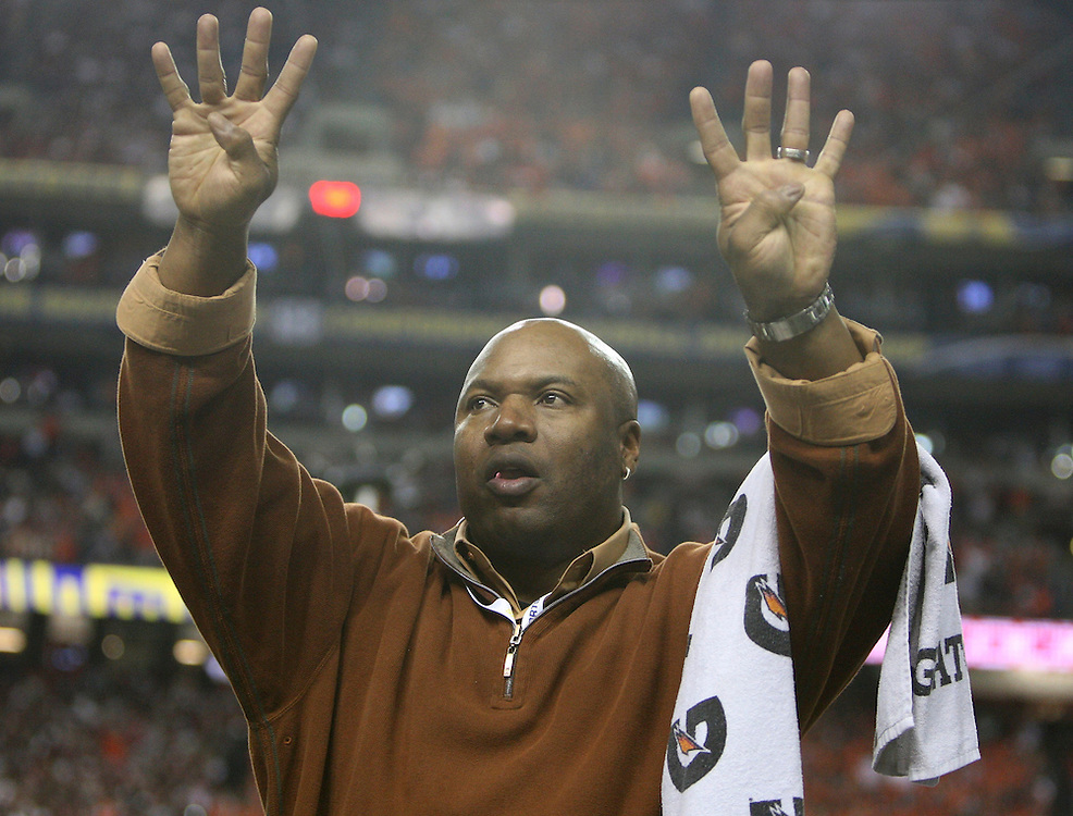 ATLANTA - DECEMBER 4:  Former Auburn player Bo Jackson signals to the crowd at the start of the fourth quarter during the 2010 SEC Championship between the Auburn Tigers and the South Carolina Gamecocks at Georgia Dome on December 4, 2010 in Atlanta, Georgia. (Photo by Mike Zarrilli/Getty Images)