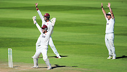 Ryan Davies, Marcus Trescothick and Jim Allenby of Somerset appeal for the wicket of Graham Onions.  - Mandatory by-line: Alex Davidson/JMP - 06/08/2016 - CRICKET - The Cooper Associates County Ground - Taunton, United Kingdom - Somerset v Durham - County Championship - Day 3