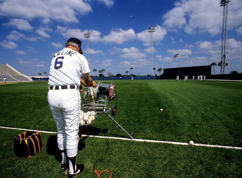 LAKELAND, FL - 1987:  Former Detroit Tigers great and baseball Hall of Fame member Al Kaline works with the outfielders during spring training at Joke Marchant Stadium in Lakeland, Florida . (Photo by Ron Vesely)