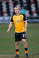 Newport County's Jake Scrimshaw (27) in action during the EFL Sky Bet League 2 match between Newport County and Salford City at Rodney Parade, Newport, Wales on 16 January 2021.