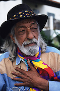 Papa Jean Reyes, brother of the famous José Reyes father to the Gypsy KIngs. Papa jena was uncle to the Gypsy Kings Reyes family, a snappy dresser always elegant and a hit with the women.<br /><br />Europe, France, Camargue, Saintes Maries de la Mer. The Gypsies, pilgrims and participants of the festival at Saintes Maries. The Gypsy festuval attracts many well known characters, both visiting Gypsies and locals all dressed up for the occasion. Everyone loves to dress up and are proud of their traditions and culture.