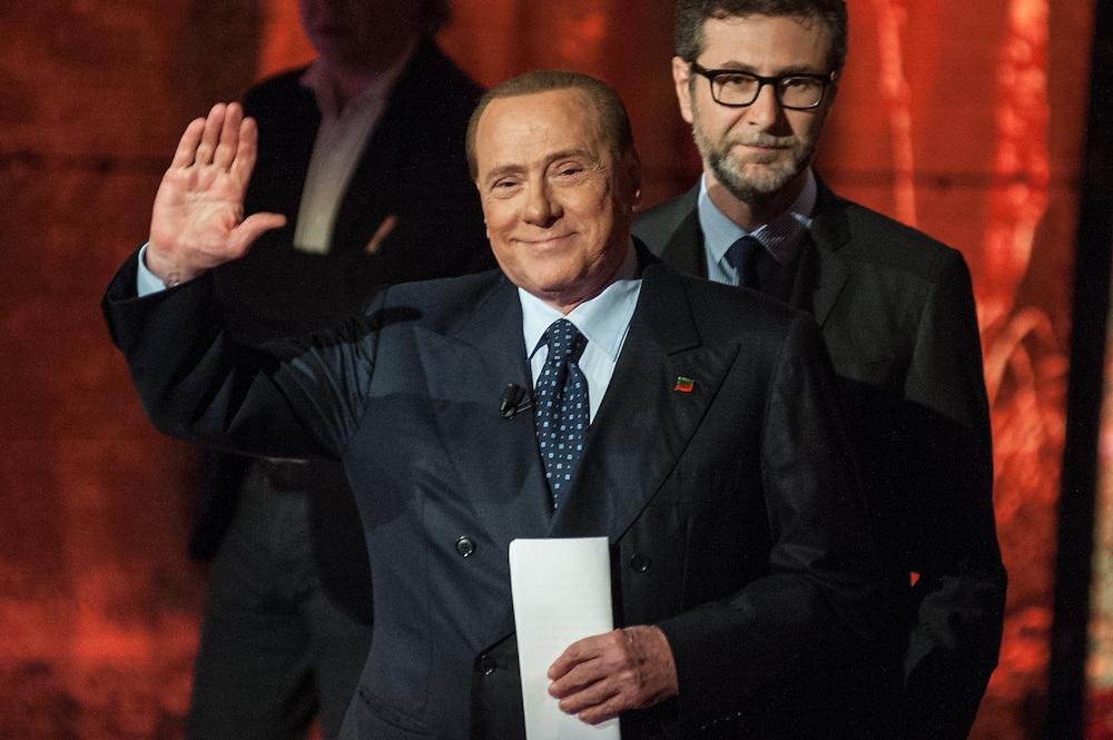 Silvio Berlusconi partecipa alla trasmissione 'Che Tempo Che Fa' con Fabio Fazio<br /> <br /> Silvio Berlusconi participates at the TV show 'Che Tempo Che Fa' with Fabio Fazio