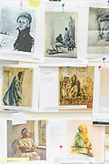A wall in Joseph J. Rishel's office in Philadelphia. Rishel is a curator at the Philadelphia Museum of Art and a specialist in the art of Paul Cezanne. He retired in May 2016 and is currently a curator emeritus of European Painting. Rishel is a fellow of the American Academy of Arts and Sciences and a chevalier of the Ordre des Arts et des Lettres. Rishel curated the upcoming exhibition of his friend Gorge A. Weymouth's work at the Brandywine River Museum. on Philadelphia on 27 Sept. 2017. Photograph by Jim Graham
