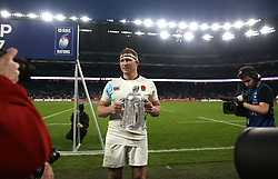 11 March 2017 : 6 Nations Rugby : England v Scotland :<br /> England captain Dylan Hartley holds up the Calcutta Cup.<br /> Photo: Mark Leech