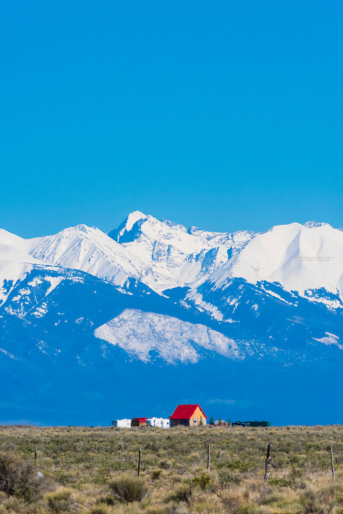 Snow capped peaks ring the San Luis Valley in Southern Colorado, USA.