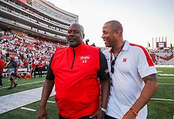 Sep 4, 2021; College Park, Maryland, USA; Maryland Terrapins head coach Mike Locksley celebrates after his team defeated the West Virginia Mountaineers at Capital One Field at Maryland Stadium. Mandatory Credit: Ben Queen-USA TODAY Sports