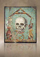 """Roman mosaic of a skull called """"Mimento Mori"""" from Pompeii, inv 100982, Naples National Archeological Museum,  Art background ..<br /> <br /> If you prefer to buy from our ALAMY PHOTO LIBRARY  Collection visit : https://www.alamy.com/portfolio/paul-williams-funkystock/roman-mosaic.html - Type -   Naples    - into the LOWER SEARCH WITHIN GALLERY box. Refine search by adding background colour, place, museum etc<br /> <br /> Visit our ROMAN MOSAIC PHOTO COLLECTIONS for more photos to download  as wall art prints https://funkystock.photoshelter.com/gallery-collection/Roman-Mosaics-Art-Pictures-Images/C0000LcfNel7FpLI"""