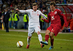 KAZAN, RUSSIA - Thursday, November 5, 2015: Liverpool's Alberto Moreno in action against Rubin Kazan's Maksim Kanunnikov during the UEFA Europa League Group Stage Group B match at the Kazan Arena. (Pic by Oleg Nikishin/Propaganda)