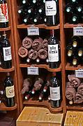 Wine shop. Famous Chateau: Beychevelle, Lagrange, Leoville Las Cases. The town. Saint Emilion, Bordeaux, France
