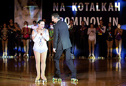 Lucija Mlinaric and Borut Pahor, president of Slovenia during special artistic roller skating event when Lucija Mlinaric of Slovenia, World and European Champion ended her successful sports career, on November 7, 2015 in Rence, Slovenia. Photo by Vid Ponikvar / Sportida
