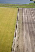 Nederland, Noord-Holland, Wieringermeer, 14-07-2008; grootschalige landbouw in de polder Wieringermeer; er wordt mechanisch geoogst door de rechter trekker, de aardappels (?) gaan via transportband naar de kar achter de linker trekker; oogst, tractor, akker, voren, schaal, schaalvergroting, rationalisatie, Wieringermeerpolder. .luchtfoto (toeslag); aerial photo (additional fee required); .foto Siebe Swart / photo Siebe Swart.