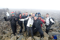 John's wife Sarah with Miss Scotland with a group of six Old Firm fans also made it to the summit..They included snack bar owner James Hagen, 40,  painter and decorator Kevin McHenery (corr), 41, and his green keeper brother Stephen, 39, all from Gourock, Renfrewshire..Green keeper Donald MacIntyre, 39, Skelmorlie, Ayrshire, valeter Stephen Murphy, 26, from Glasgow, teacher Matthew Marr, 30, Glasgow.The John Hartson Foudation walk up Ben Nevis..Pic ©2010 Michael Schofield. All Rights Reserved.