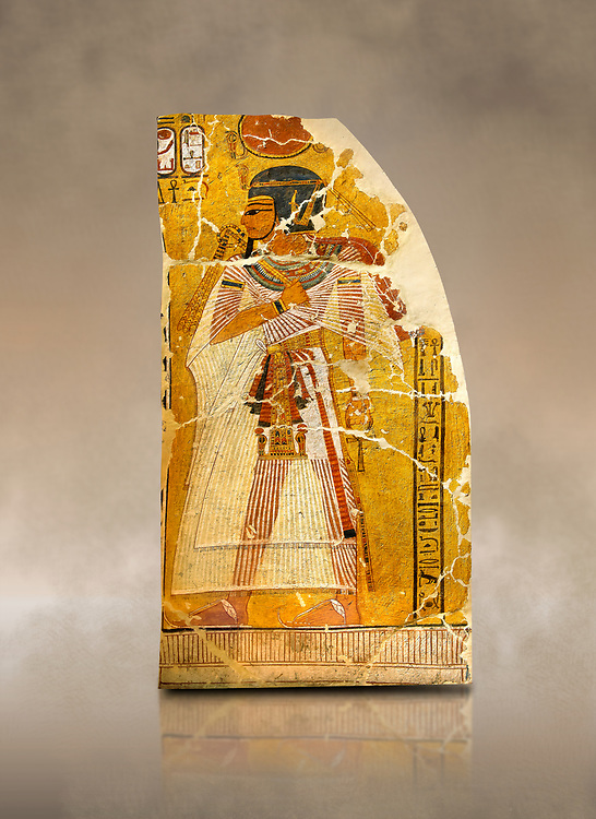 Egyptian painting on stucco of Pharaoh Amenhotep I. 11152-1145BC, Thebes. Neues Reiche Museum, Berlin. Cat No AM2061
