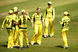 Australia Women celebrate taking the wicket of Anya Shrubsole of England Women - Mandatory by-line: Robbie Stephenson/JMP - 09/07/2017 - CRICKET - Bristol County Ground - Bristol, United Kingdom - England v Australia - ICC Women's World Cup match 19