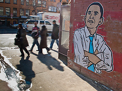 Mural of Barack Obama on side of building on U Street, Washington D.C., USA.