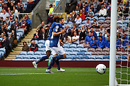 Jon Toral of Birmingham City celebrates with his teammate  after scoring his teams 1st goal. Skybet football league championship match, Burnley  v Birmingham City at Turf Moor in Burnley, Lancs on Saturday 15th August 2015.<br /> pic by Chris Stading, Andrew Orchard sports photography.