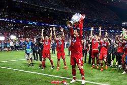 June 2, 2019 - Madrid, Spain - 190602 Virgil van Dijk of Liverpool celebrates with the throphy after the UEFA Champions League final between Tottenham and Liverpool on June 2, 2019 in Madrid..Photo: Petter Arvidson / BILDBYRÃ…N / kod PA / 92302 (Credit Image: © Petter Arvidson/Bildbyran via ZUMA Press)